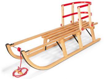 Slittino in legno con schienale